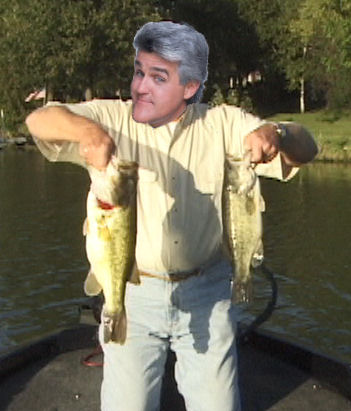A photoshoped image of Jay Leno holding up two bass and trying to choose which one to keep