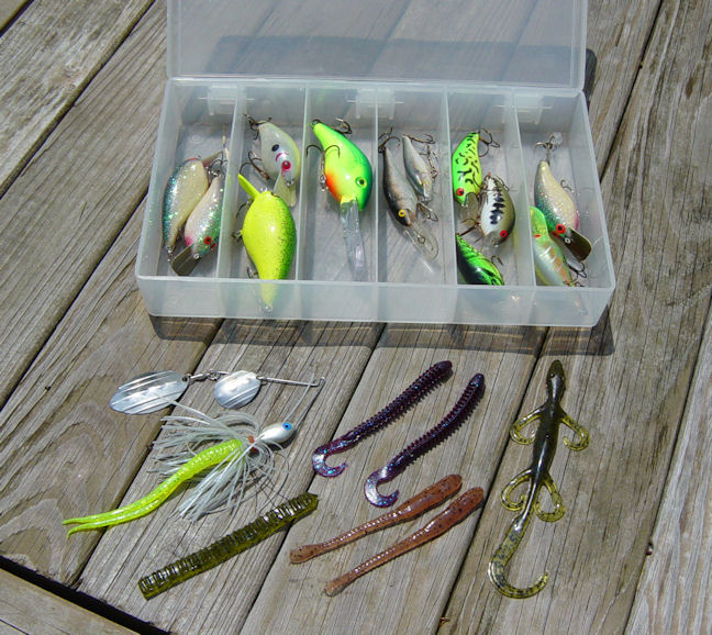 Asortment of fishing lures in the colors that I use most often